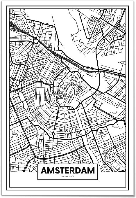 Panorama Poster Carte D Amsterdam 21 X 30 Cm Imprimee Sur Poster