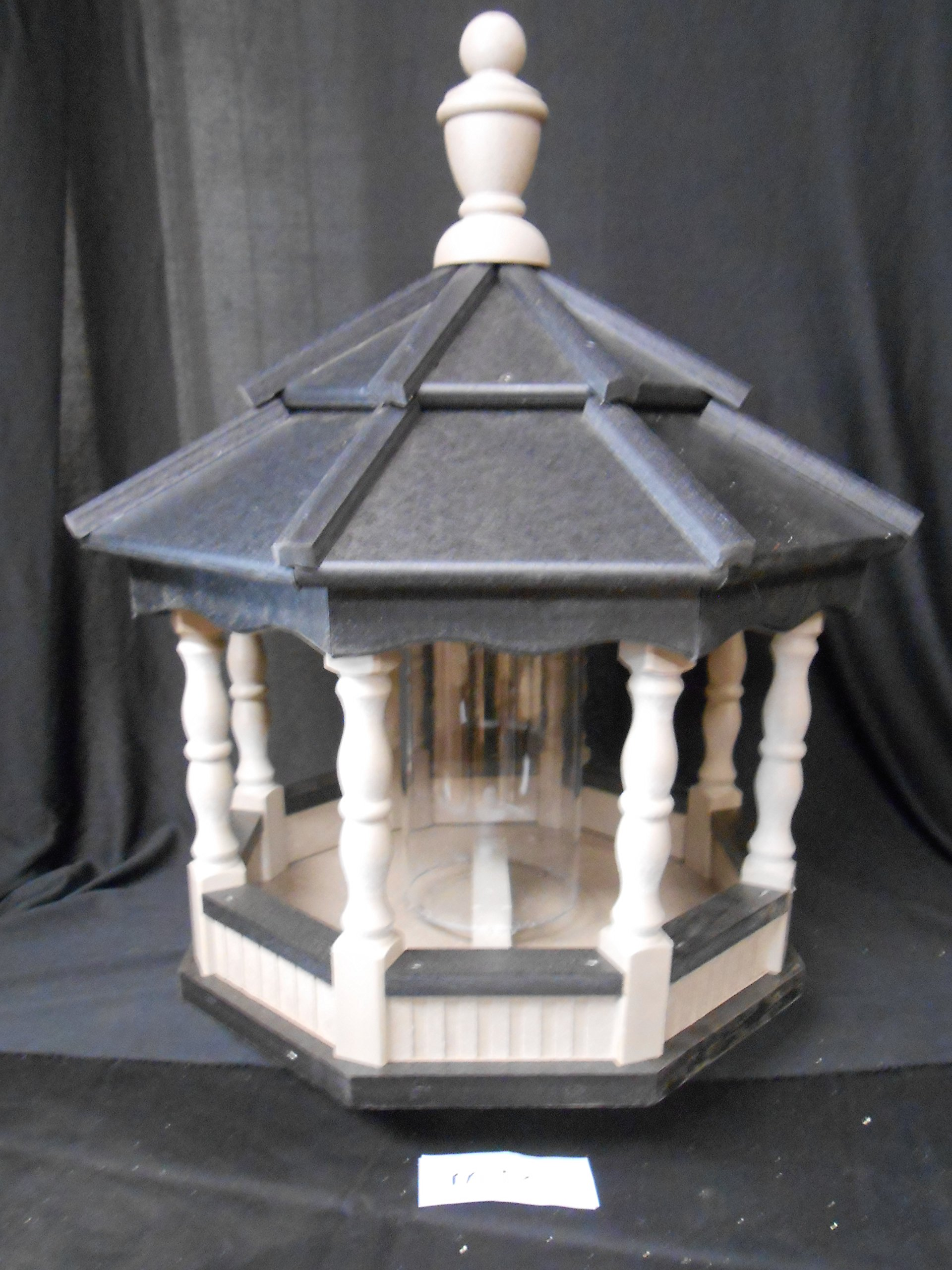 Medium Poly Bird Feeder Amish Spindle Gazebo Handcrafted Homemade Clay & Black Roof