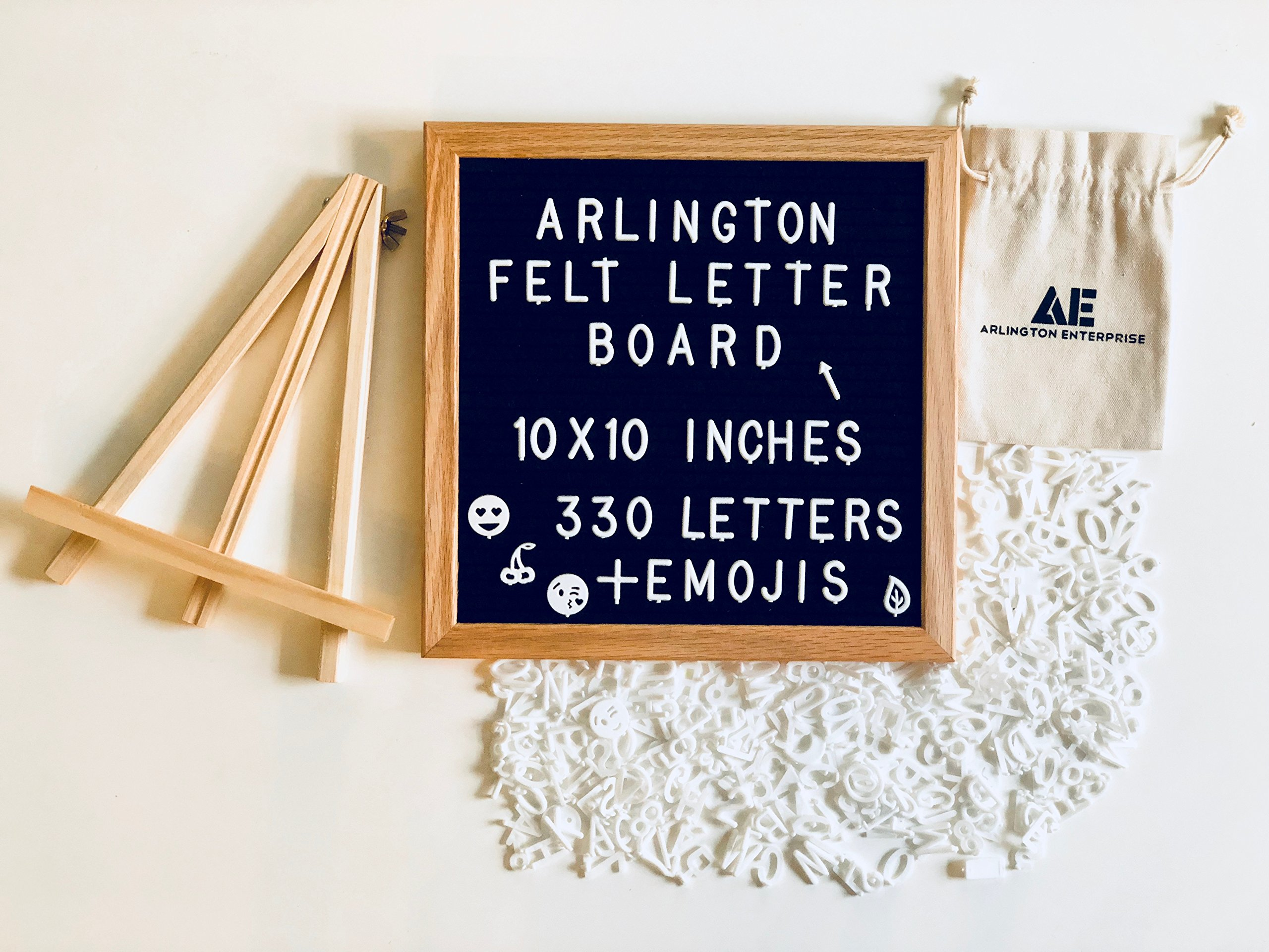 Felt Letter Board with 295 White Detachable Letters + 35 Emojis Framed in a Rustic 10x10 inches Oak Wood. Comes with: Free Oak Tripod Stand, Scissors, and Canvas Bag.