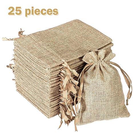 Whaline 25 bolsas de arpillera con cordón de ajuste, bolsas ...