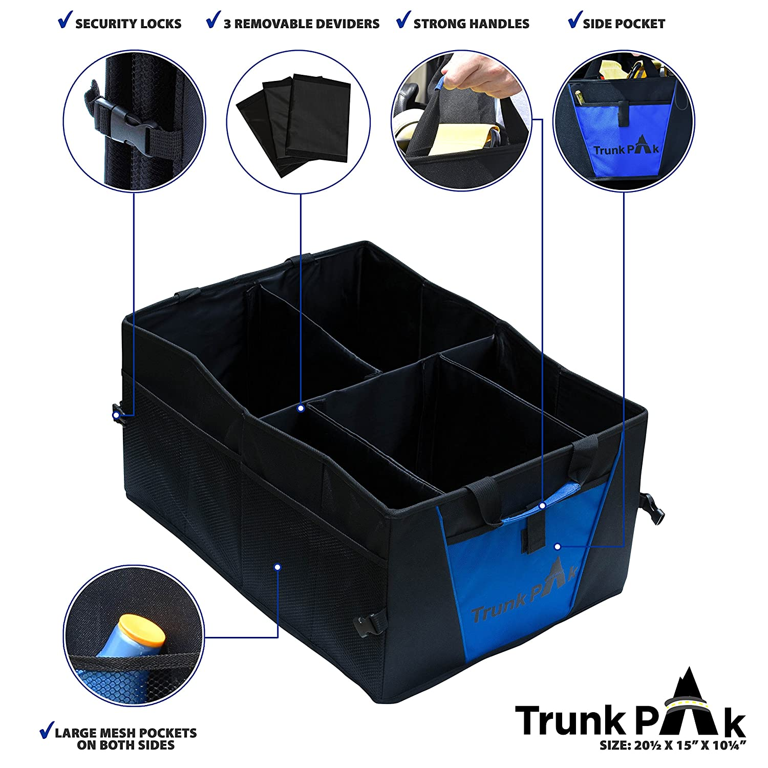 Vehicle Storage /& Car Trunk Box Auto Home Use Collapsible Car Organizer All Types Vehicles Heavy Duty Fabric Steady Cardboard Blue /& Black 5 Compartments TRUNKPAK Trunk Organizer