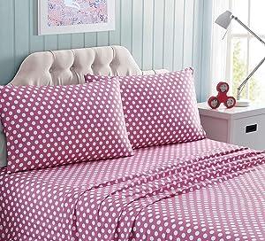 Kute Kids Super Soft Sheet Set - Polka Dot Brushed Microfiber for Extra Comfort (Pink, Full)