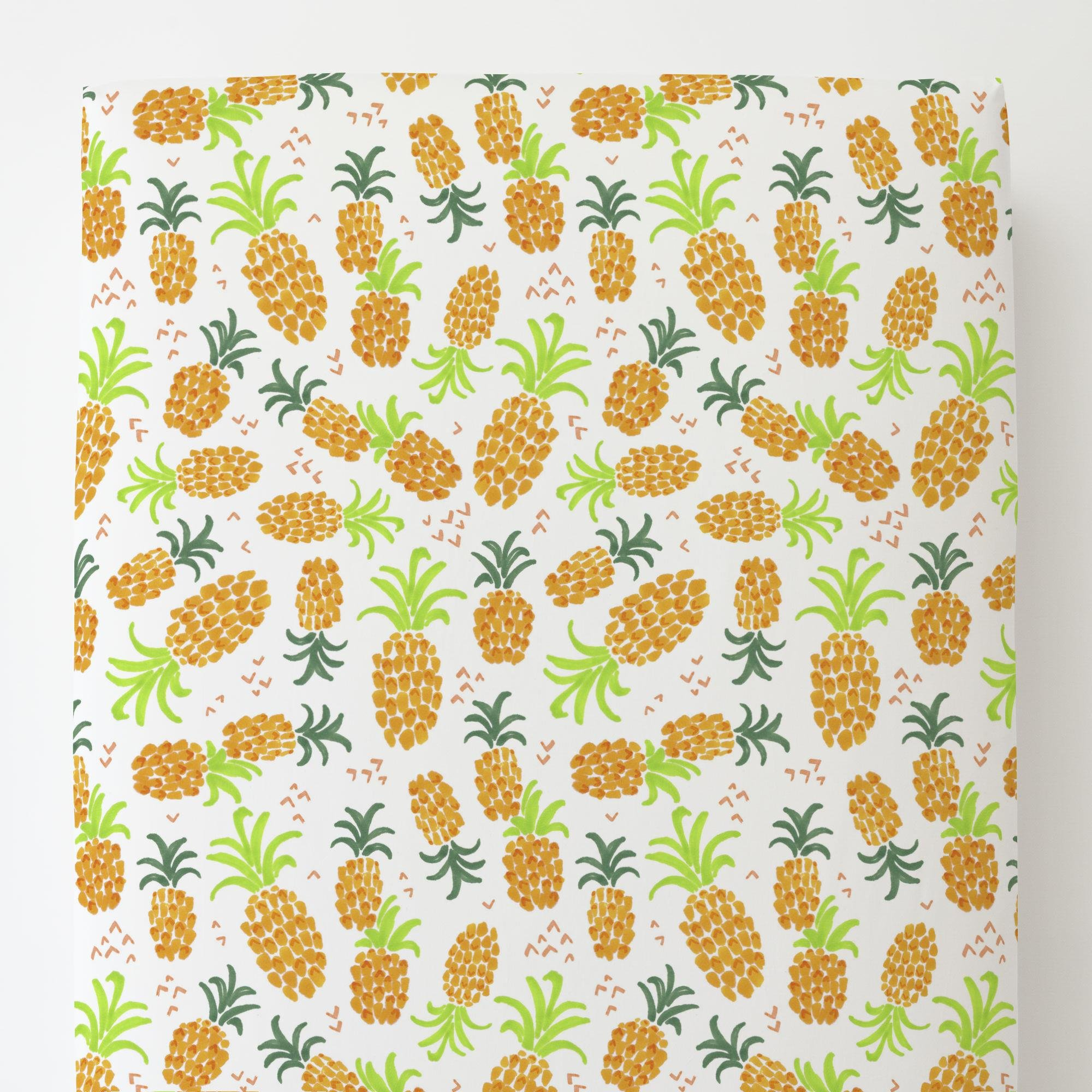 Carousel Designs Golden Pineapples Toddler Bed Sheet Fitted