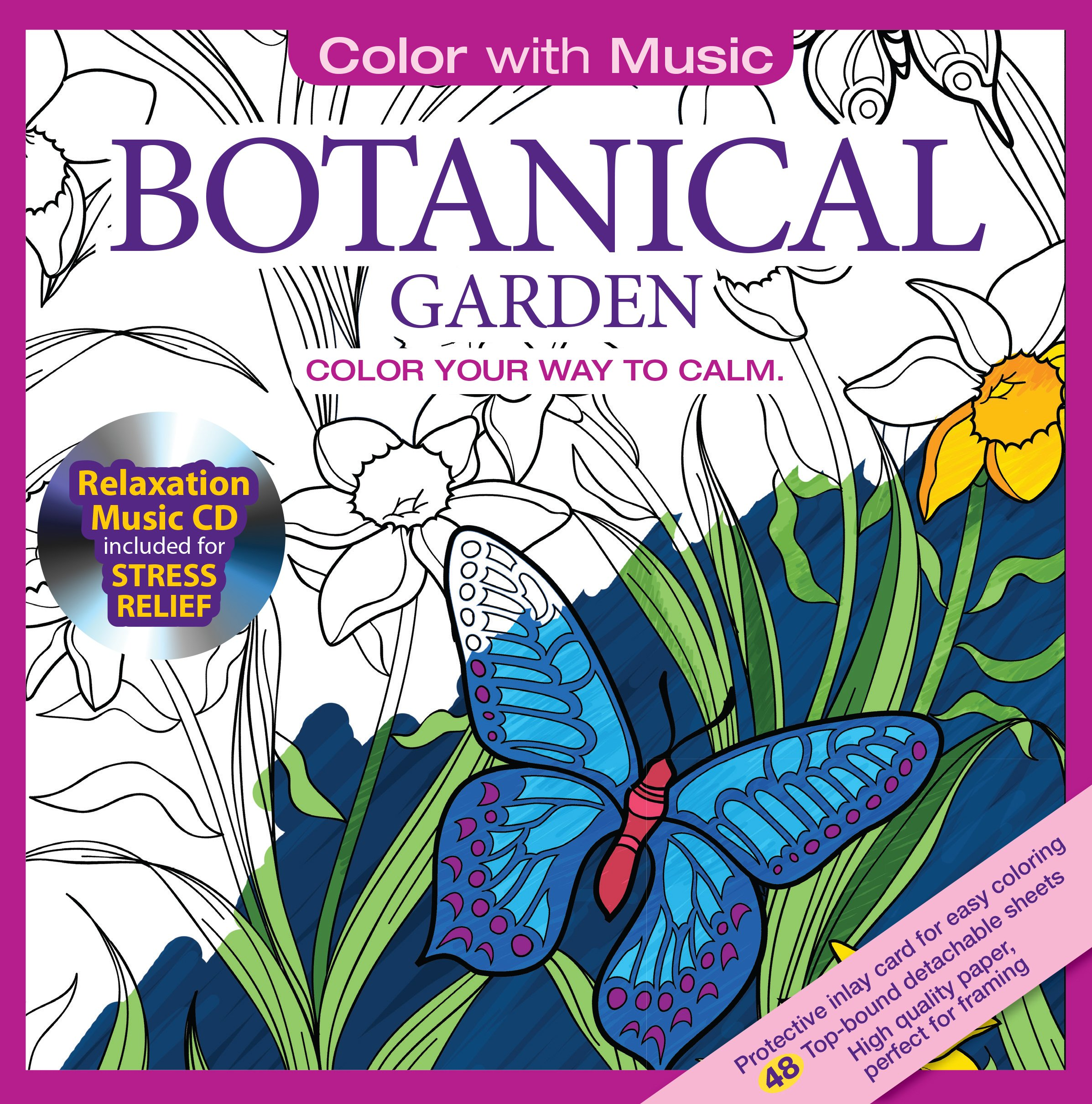 amazoncom botanical garden adult coloring book with bonus relaxation music cd included color with music 9781988137018 newbourne media books