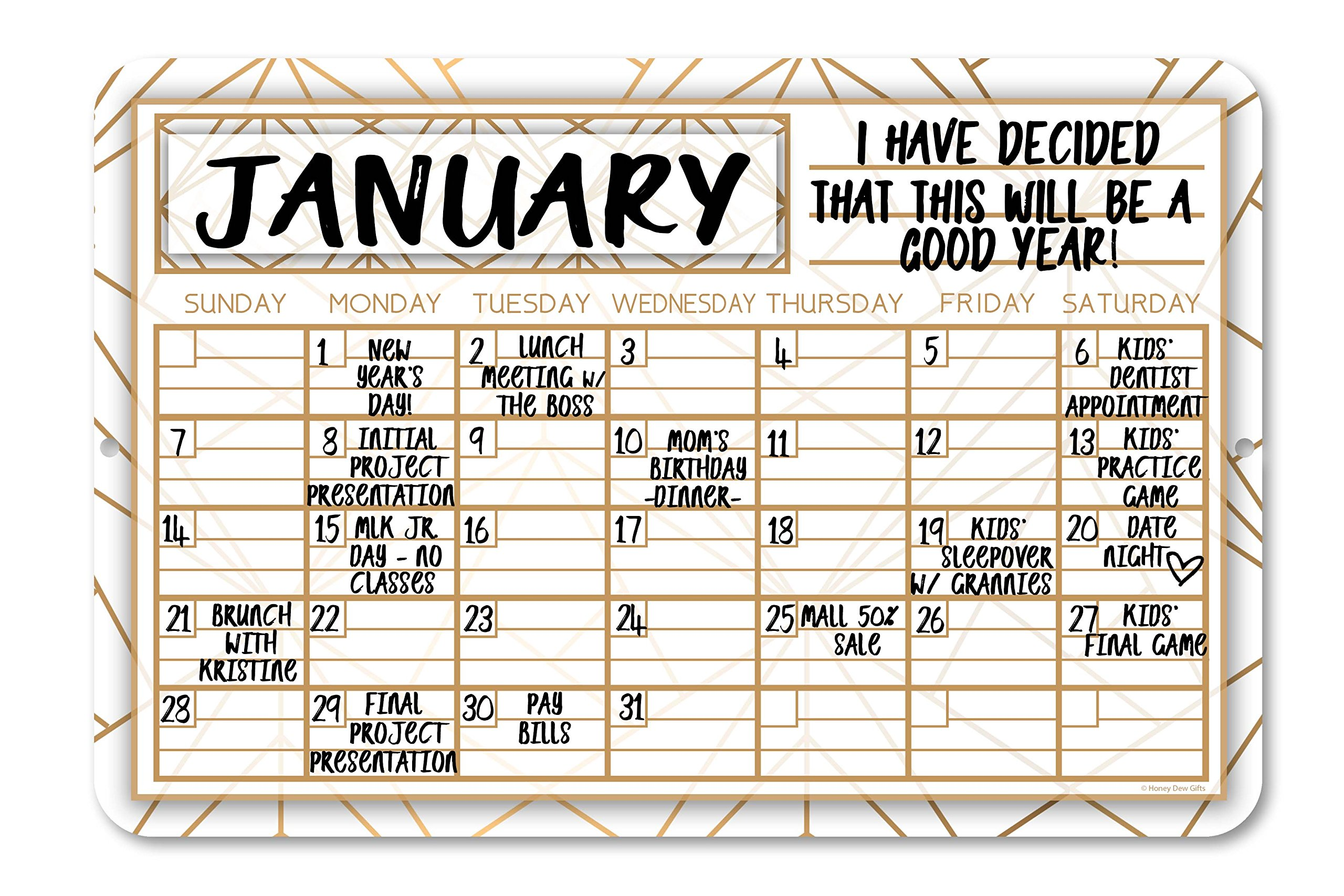 Gold Geometric Pattern Decorative Monthly Wall Calendar Planning Board - Reusable Easy Clean