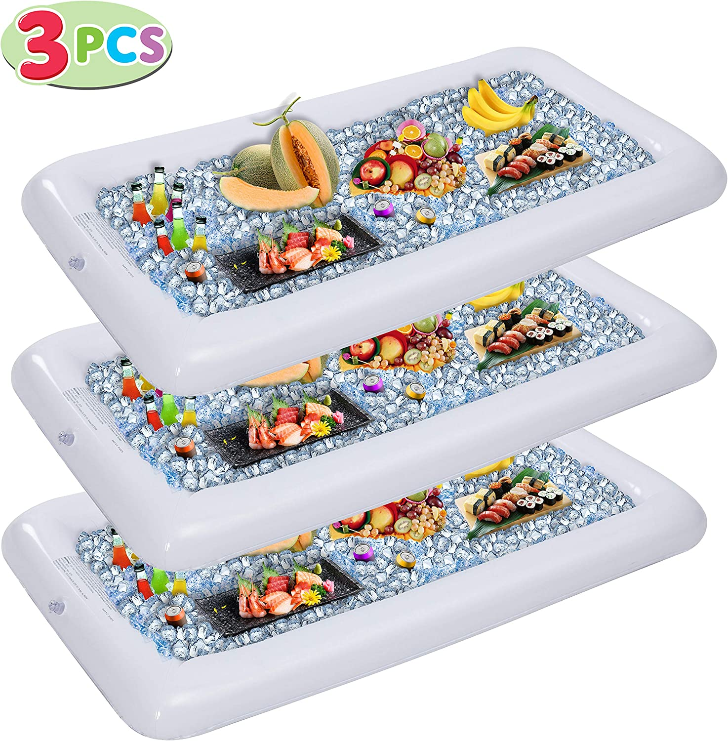 Inflatable Serving Bars with Drain Plug (3 Sets), Inflatable Cooler Ice Buffet Salad Serving Trays for Indoor Outdoor Summer Beach Luau Party, Picnic, and Pool Party