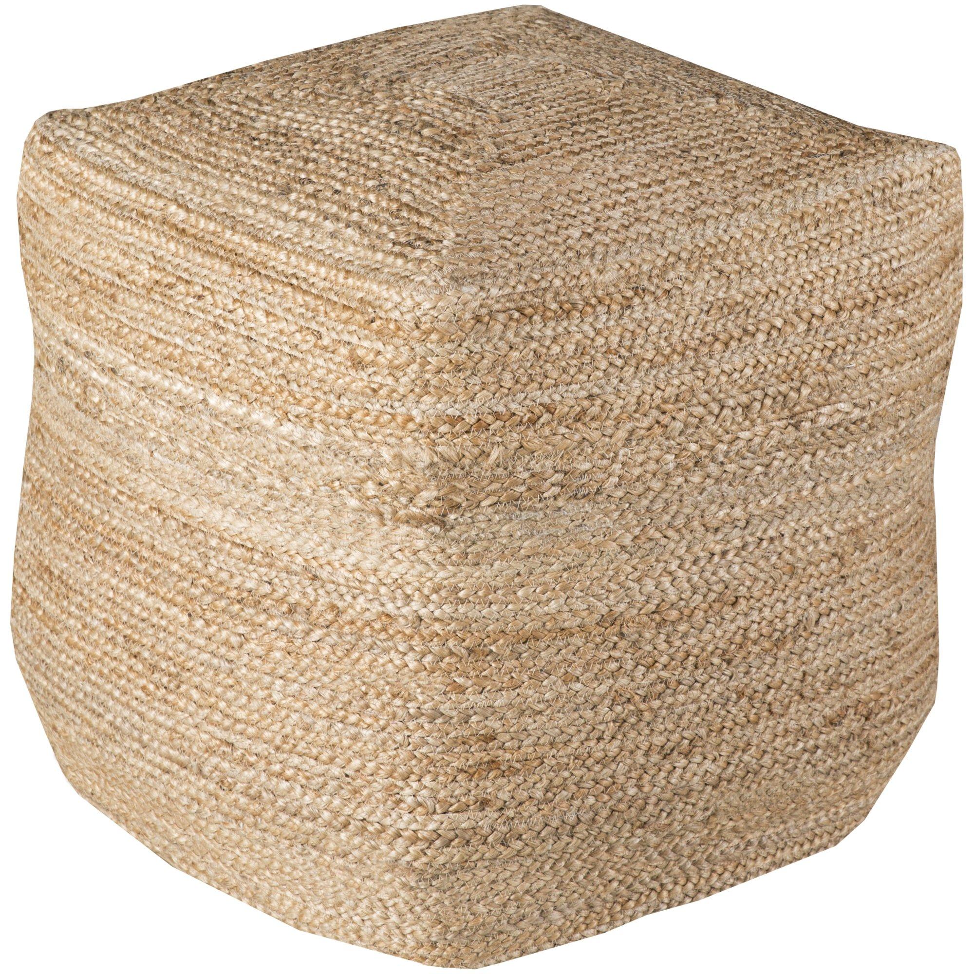 Surya POUF-101 Hand Made 100% Jute Desert Sand 18'' x 18'' x 18'' Pouf