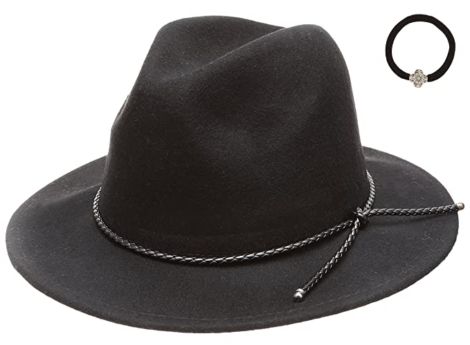 388a64f3dbe D Y Women s 100% Wool Felt Cloche Short Brim Floppy Fedora Hat with Scrunchy  (Braid