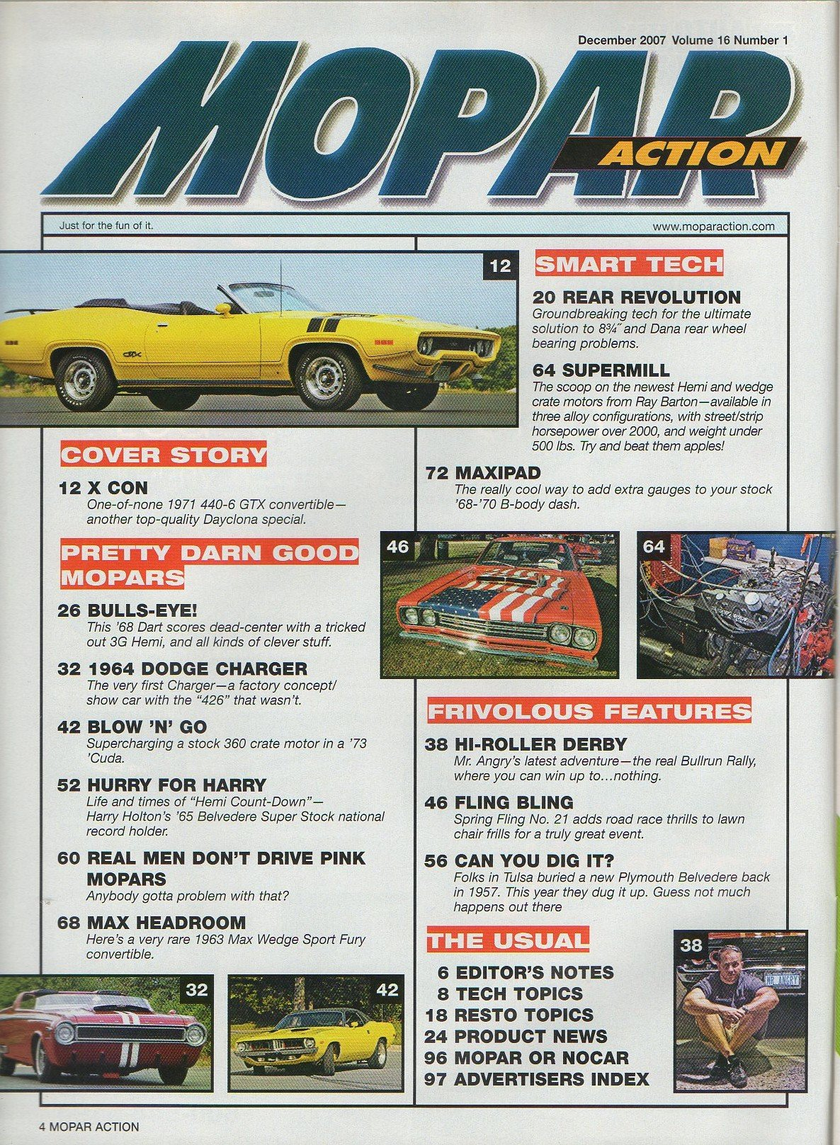 Mopar Action December 2007 Magazine SHOCKER! 1971 GTX 440+6