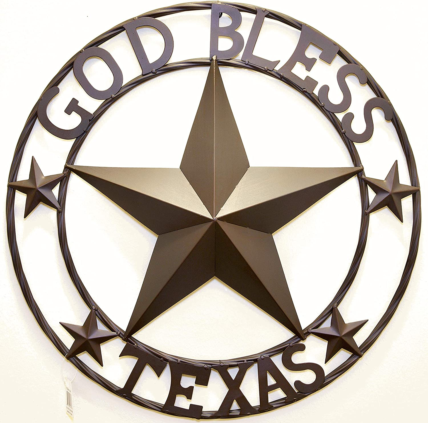 """BestGiftEver Metal 24"""" Circled Star with God Bless Texas Wall Hanging Decoration"""