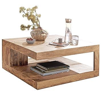 Wohnling Couchtisch Massiv Holz Akazie 90 Cm Breit Wohnzimmer Tisch