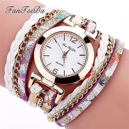Longra Reloj Mujer, Mujeres de Color romantico Moda Casual Analog Quartz Mujeres Rhinestone Reloj Pulsera