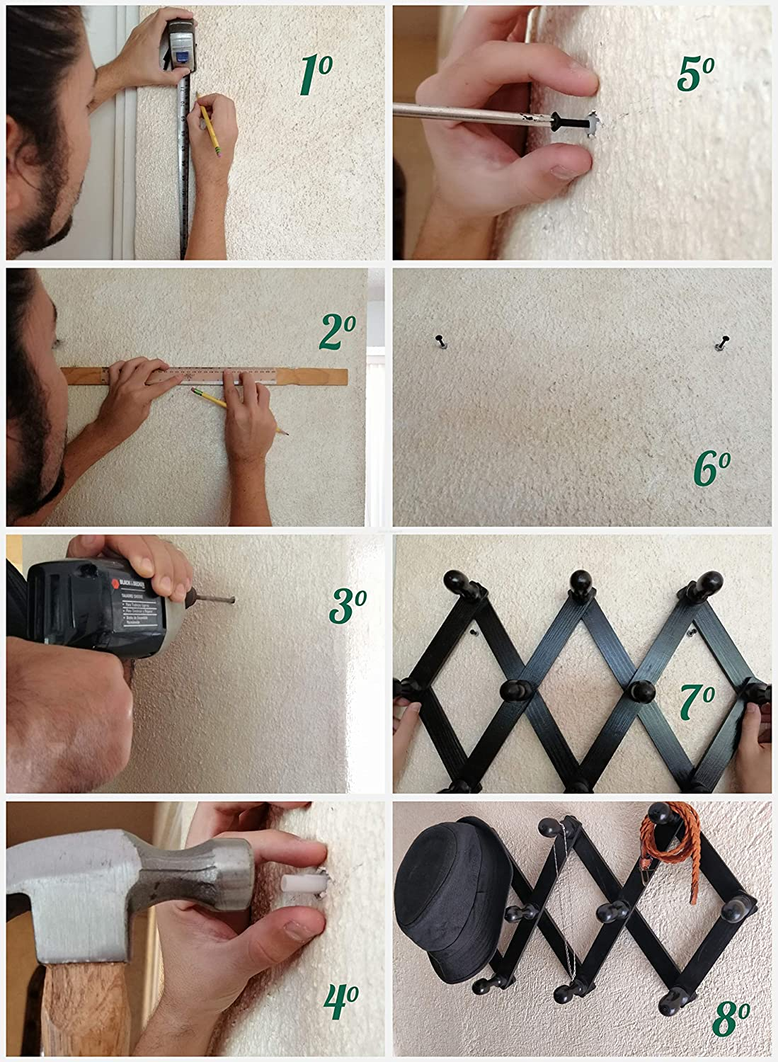 Amazon.com: Perchero de pared con 10 clavijas de madera ...