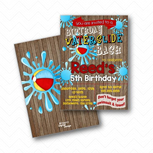Image Unavailable Not Available For Color Waterslide Bash Birthday Party Invitations