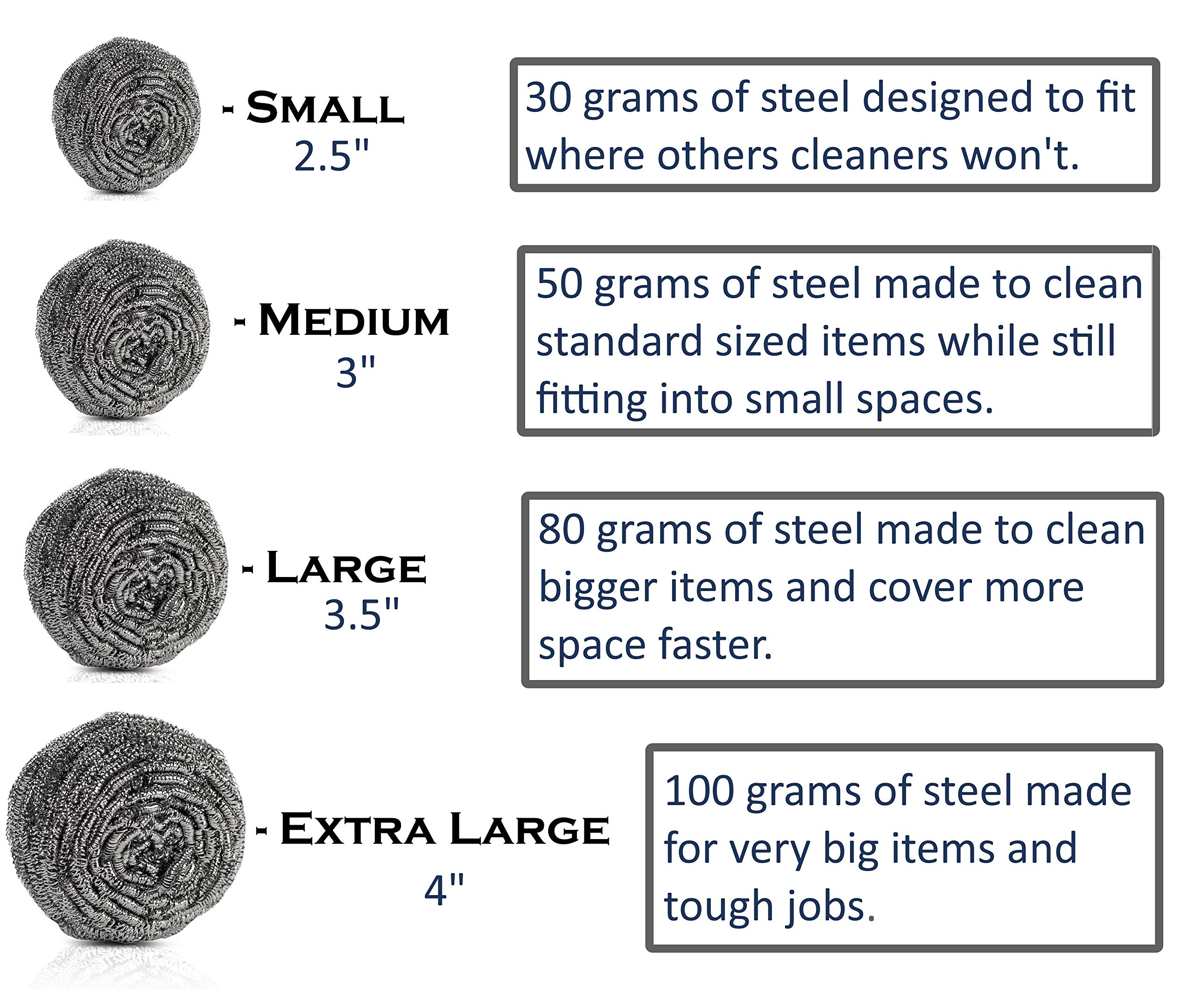 Brheez Stainless Steel 4'' Scouring Pads - EXTRA LARGE Heavy Duty Industrial & Commercial Individually Wrapped Scrubbing Wool Sponges (Pack of 12) by brheez (Image #7)