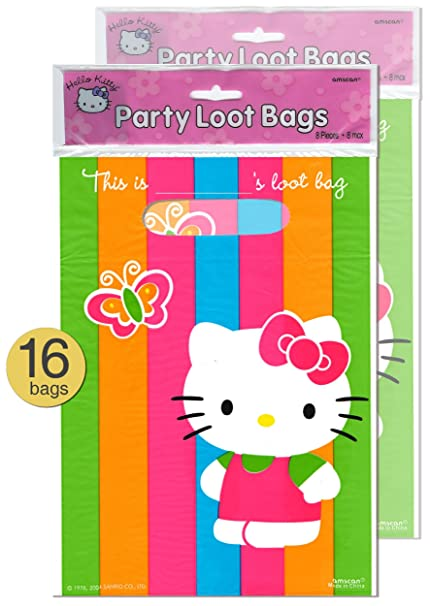 Image Unavailable. Image not available for. Color  Set of 16 - Hello Kitty  Theme Party Supplies Treat Loot Bags - Wholesale Bulk Pack c8efe9ba830bc