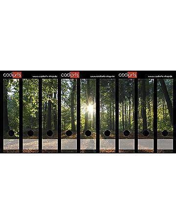 codiarts Juego 9 Pieza Ancho Carpeta de Etiquetas Autoadhesivas (Lomo de archivadores Adhesivos) Rayos de Sol, Natural, Sol en el Bosque, Puesta del Sol en ...