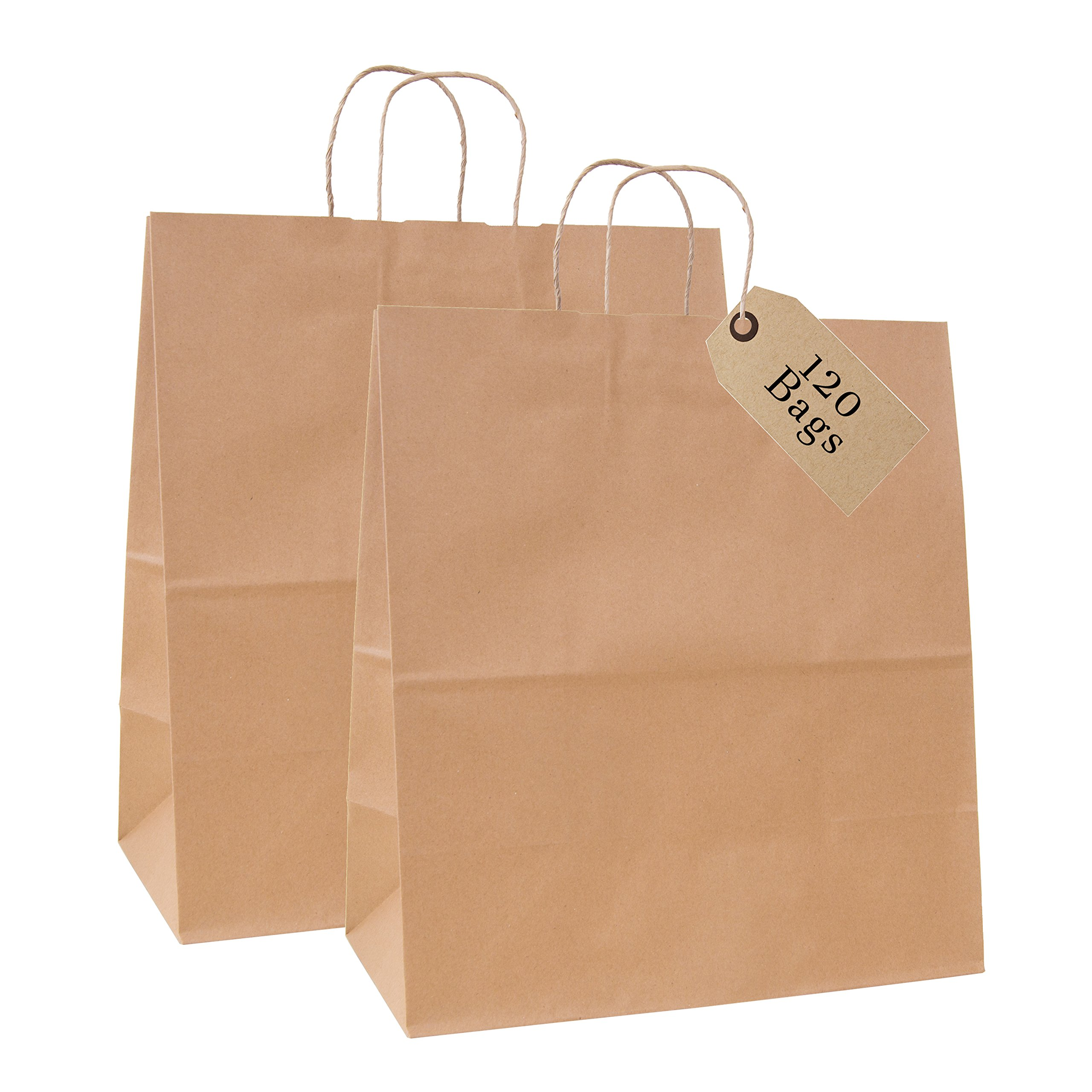 Incredible Packaging - 18'' x 7'' x 18'' Jumbo Kraft Paper Bags with Handles for Shopping, Retail and Merchandise. Strong and Reusable - 80 Paper Thickness- 100% Recycled (120, Brown)