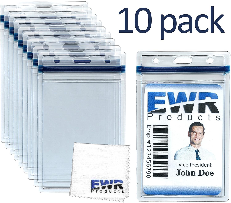 10 heavy duty id badge holders clear vertical vinyl
