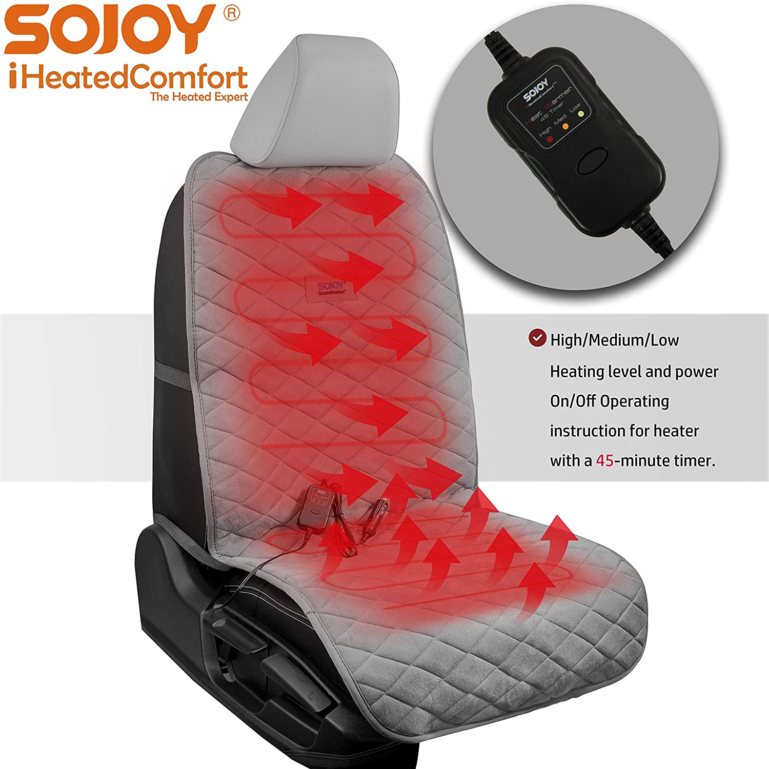 Black,3 Temp Switch 45 Mins Automatically Turn-Off Timer Sojoy Soft Thick Universal 12V Heated Smart Multifunctional Car Seat//Cushion Warmer High//M//Low