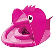 SwimSchool Fun Fish Fabric Baby Boat, Canopy, UPF 50, Extra-Wide Inflatable Pool Float, 6 to 18 Months, Pink