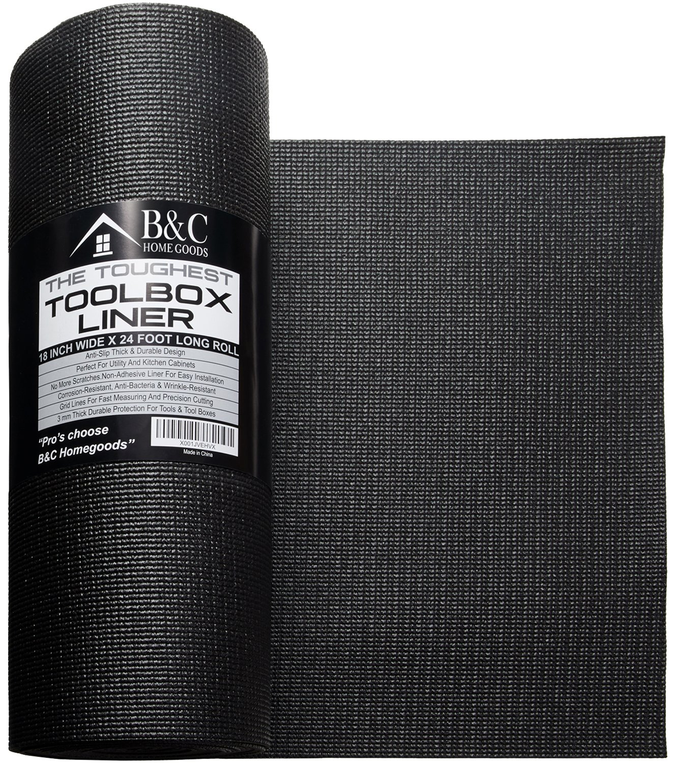 Professional Tool Box Liner and Drawer Liner - Black 18 Inch x 24 Feet Non-Slip Shelf Liner Is Perfect for Protecting Your Tools - These Thick Cabinet Liners Are Easily Adjustable to Fit Any Space by B&C Home Goods