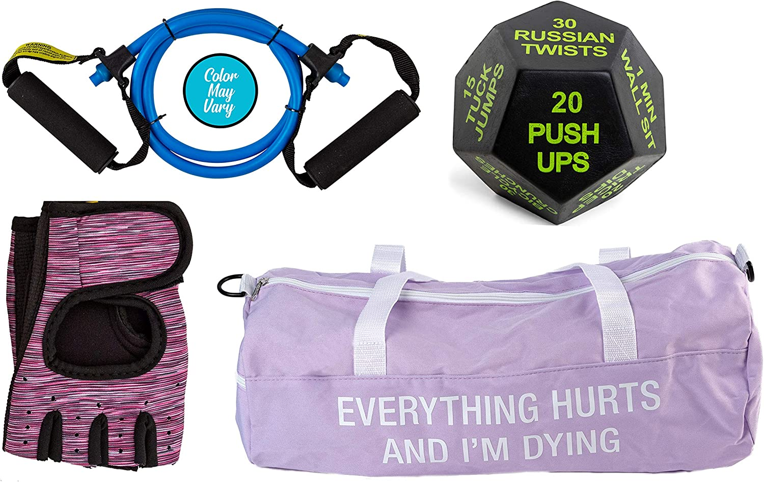Purple Gym Bag Exercise Dice 3-4 Items in Bundle Sister Novelties Fitness Sets for Men and Women Resistance Exercise Band /& Work Out Gloves Yoga Dice Set Workout Bundle for Women and Men