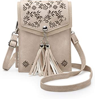 seOSTO Tassel Cell Phone Holder Small Womens Crossbody Bag