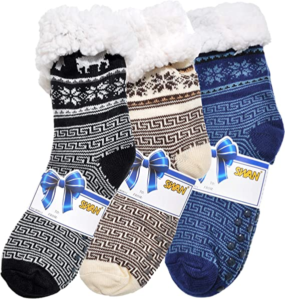 nwt new womens gray fuzzy sherpa snowflake christmas holiday sock slippers