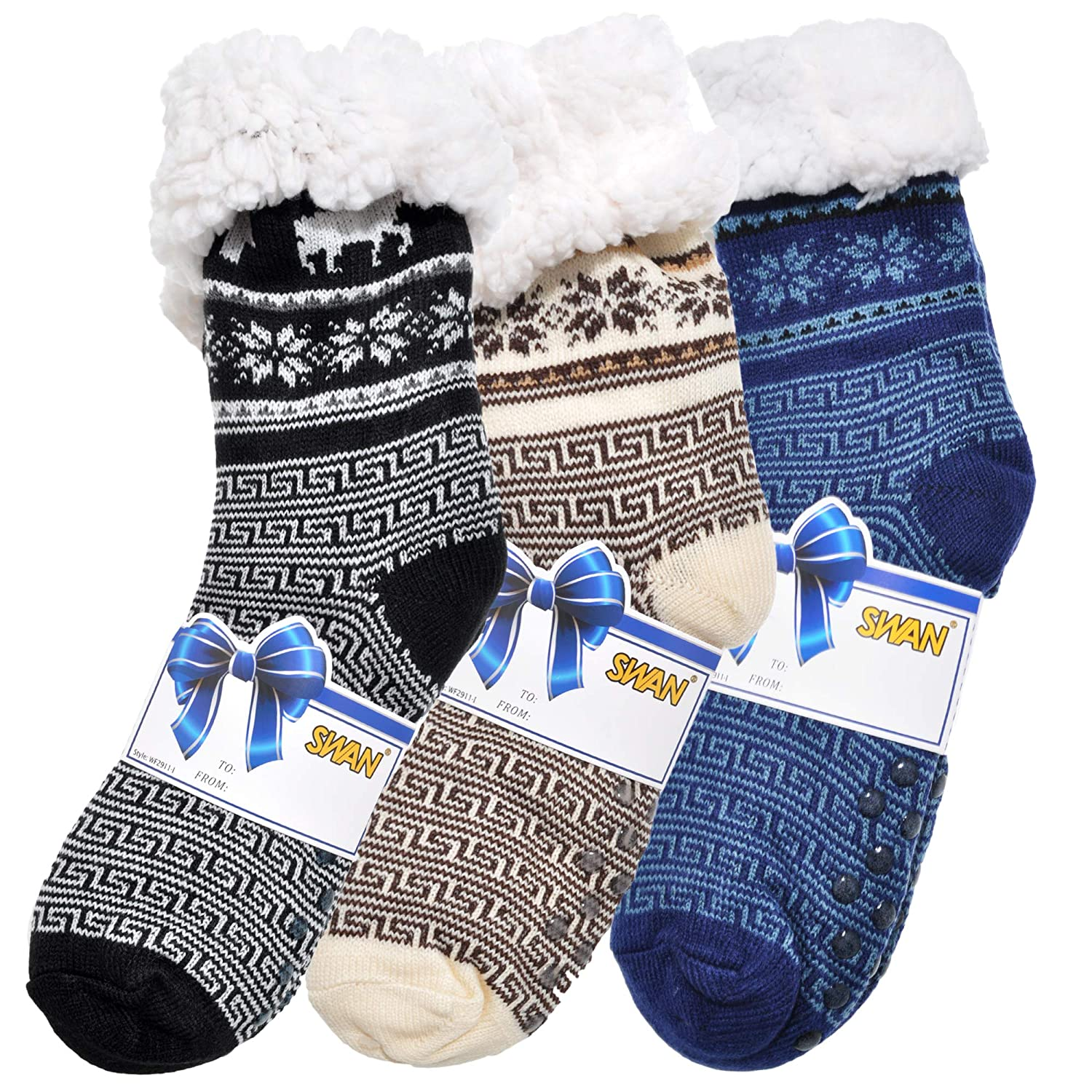 Swan Men's Sherpa-Lined Thermal Christmas Slipper Socks with Gift Tags (3-Pack) Men' s One Size 10-13 Men' s 3 Pair Pack Argile WF2911_3_10-13_ARGIL