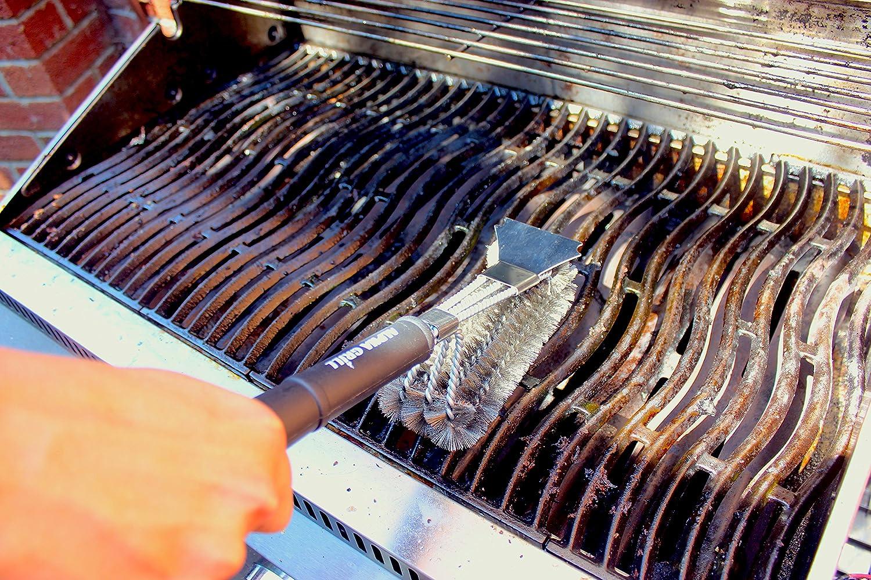 Grillb/ürste 45cm Effektiv zum Entfernen von Fett von Allen Grillen Grillrosten K/üchenchefs Sichere und Extra Starke Dreifache Edelstahldrahtborsten und Schrubber ALPHA GRILL