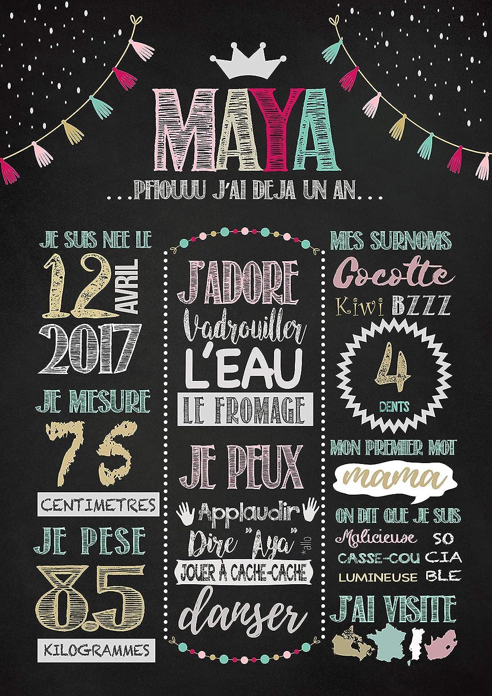 Dozili Pizarra de Tiza para Primer cumpleaños Afiche Tableau ...