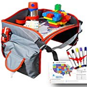 Toddler Car Seat Travel Tray, Play Tray, Kids Travel Tray with iPad Mini Holder, Side Pockets and Wet Wipe for Any Car Seat, Stroller, Airplane and High Chair by Little Explorer
