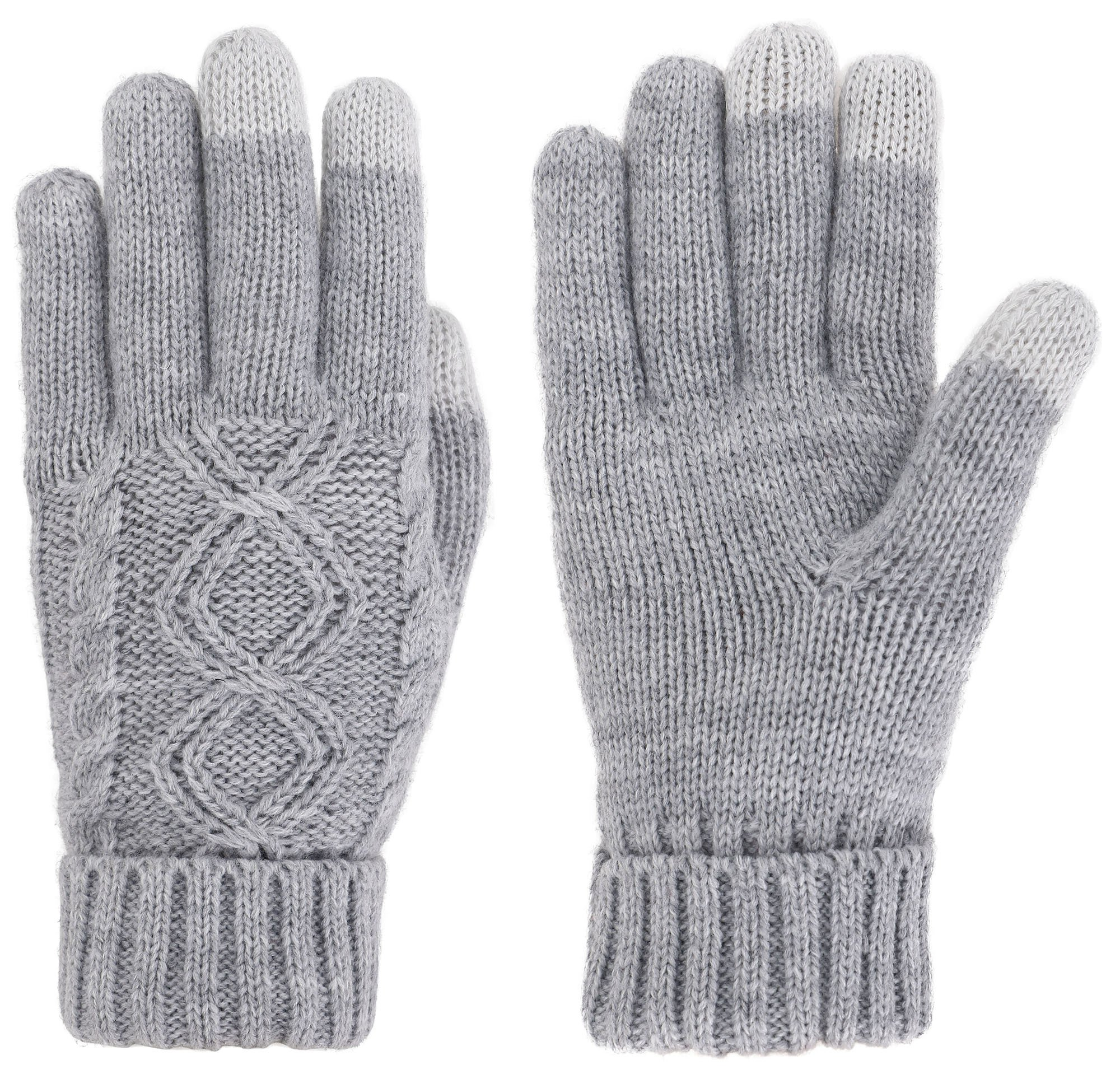 Women's Cable Knit 3 Finger Touchscreen Sensitive Winter Mitten Gloves,Grey