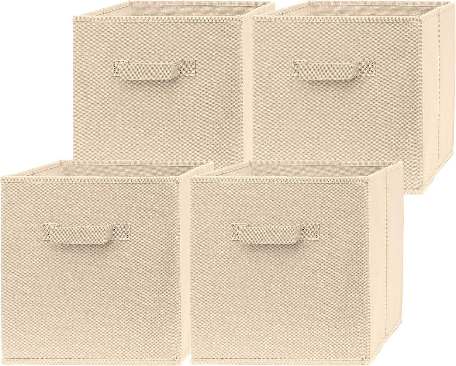 Pomatree 13x13x13 Inch Storage Cubes - 4 Pack - Large and Sturdy Storage Bins | Dual Handles, Foldable | Cube Organizer Bin | Fabric Baskets for Organizing Closet, Clothes and Toys (Beige)