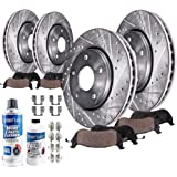 """Detroit Axle -READ DESCRIPTION Front 13.58""""(345mm) & VENTED Rear Drilled Slotted Disc Brake Kit Rotors w/Ceramic Pad Kit…"""