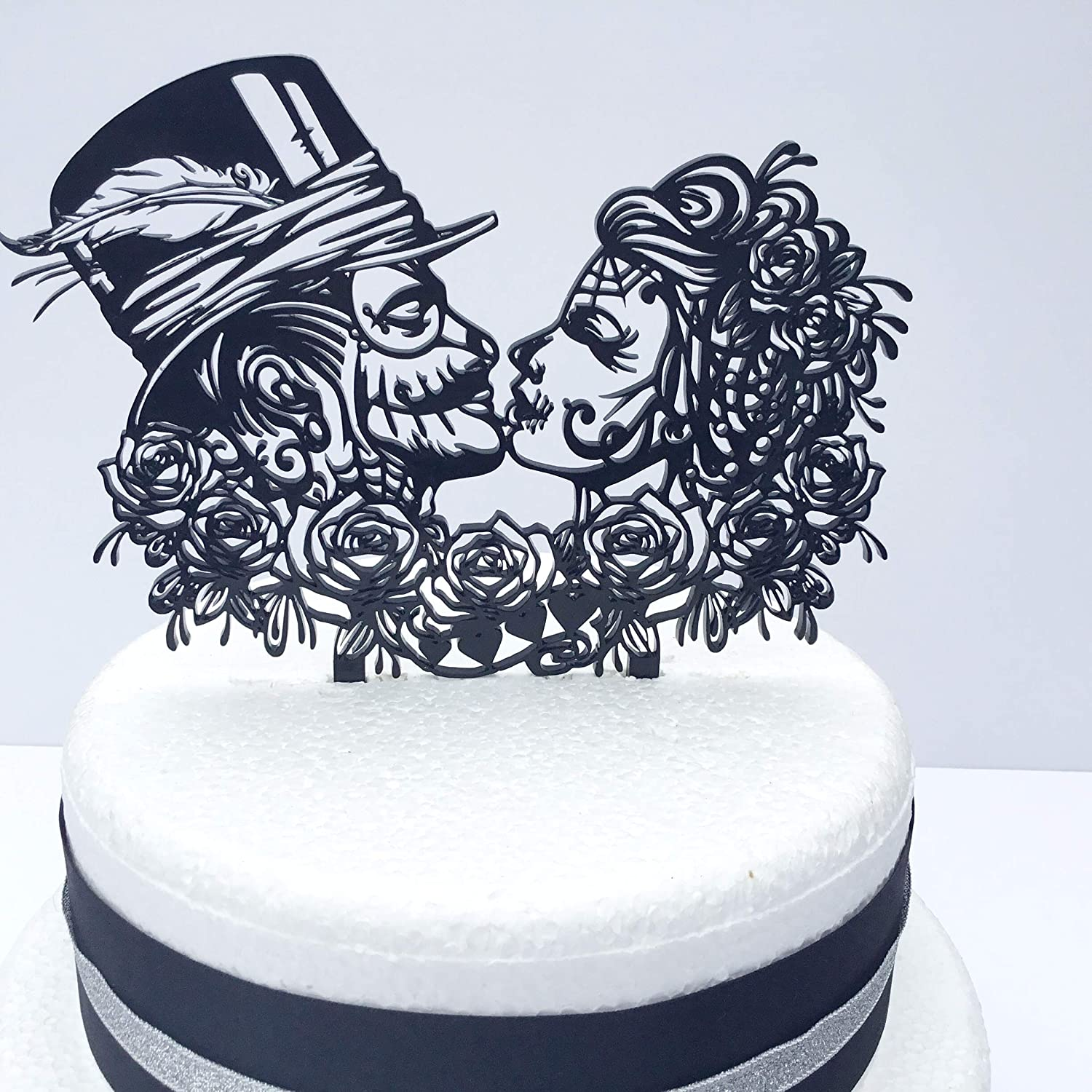 Day Of The Dead Rose Alternative Gothic Rock Wedding Cake Topper