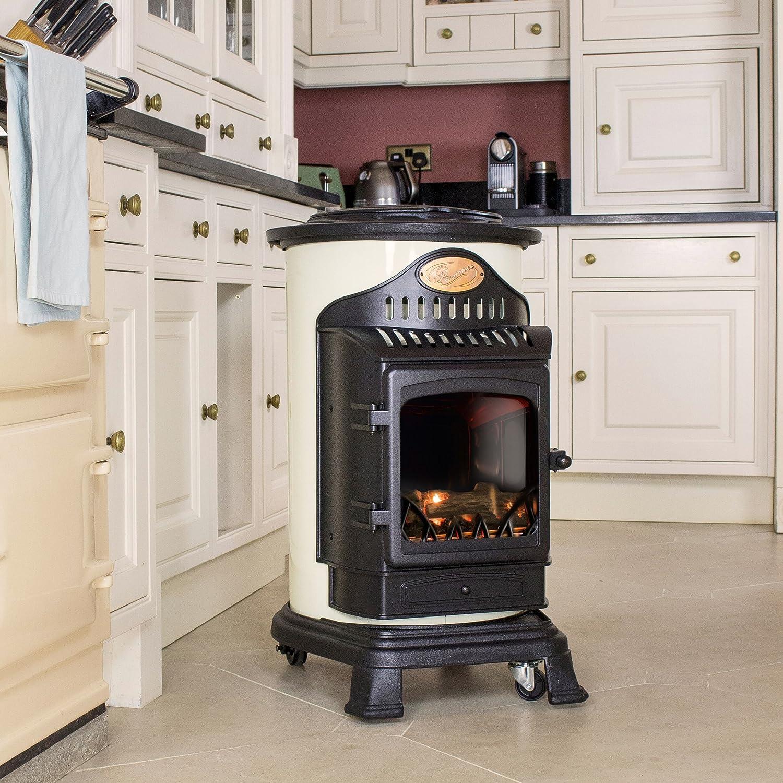 Calefactor de gas efecto estufa de madera 3 kW Provence en color negro y blanco crema: Amazon.es: Hogar