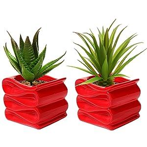 MyGift Set of 2 Modern Decorative Folded Design Small Ceramic Plant Pot/Flower Planter - Red