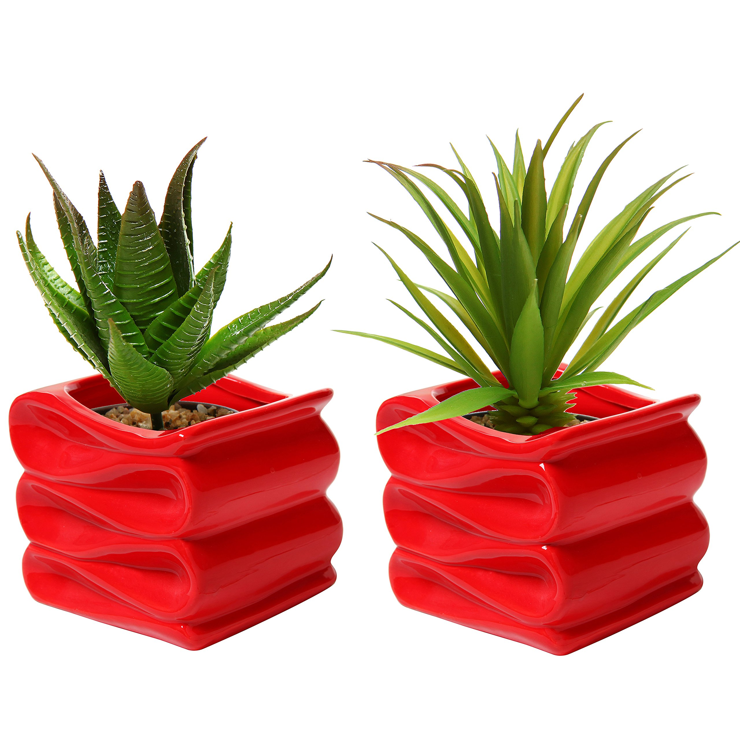 MyGift Set of 2 Modern Decorative Folded Design Small Ceramic Plant Pot / Flower Planter - Red