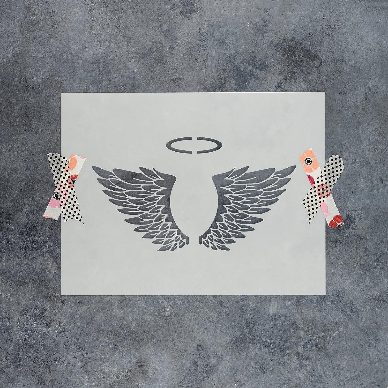 angel wingsステンシルテンプレート 再利用可能なステンシルwith複数