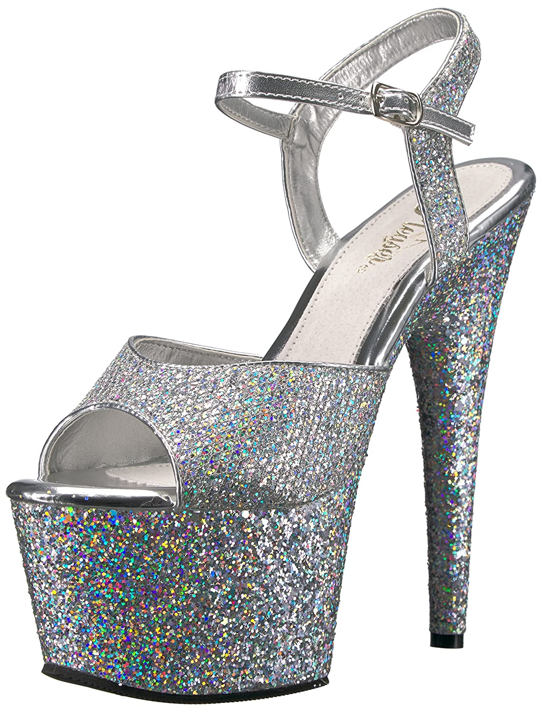 Women's Adore Silver Glitter Platform Sandals - DeluxeAdultCostumes.com