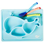 Silicone Placemat Mini Mat For Babies Toddlers Infants Kids Plate Blue Sunction Feeding Tray Whale Shape+3 Color Changing Spoons Bowl Non-Slip Portable BPA&PVC Free Gift Travel Kitchen Table Highchair