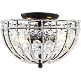 """JONATHAN Y JYL9070A Billie 12"""" Crystal Flower Metal/Acrylic LED Semi-Flush Mount Glam,Classic,Transitional Dimmable, 2700K Co"""