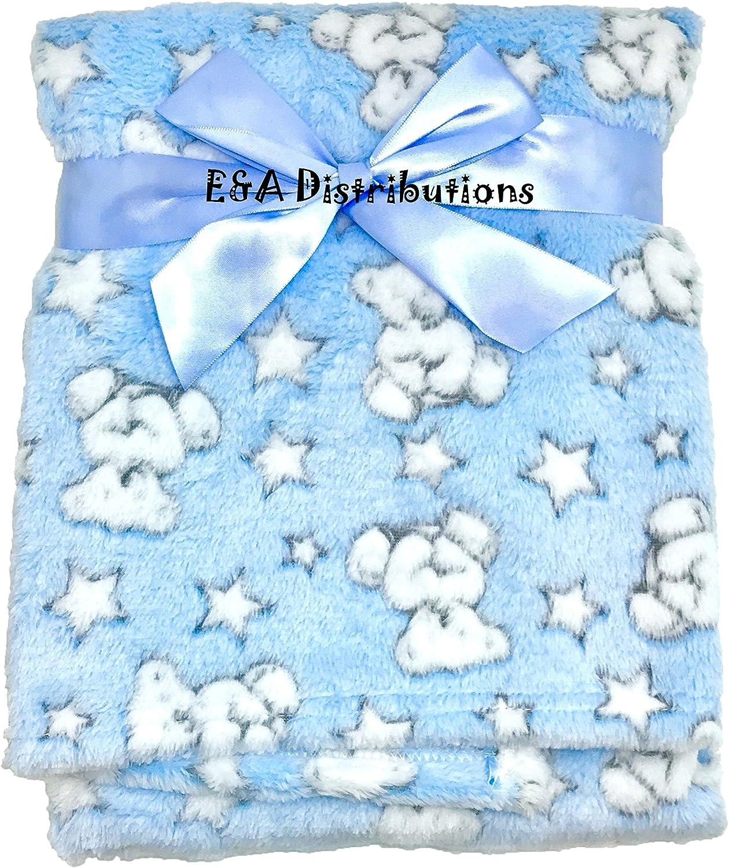 E/&A Luxury Soft Fleece Baby Blanket in Cute Grey Teddy with Stars Design 75 x 100cm for Babies from Newborn Grey Teddy with Star