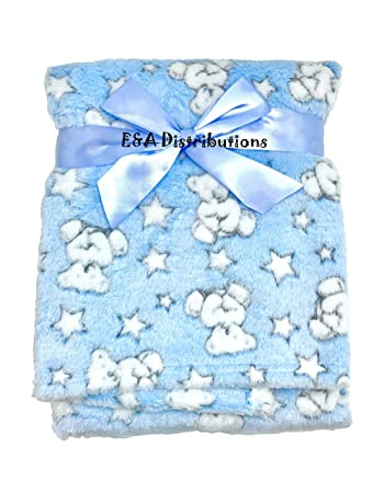 E A Luxury Soft Fleece Baby Blanket In Cute Blue Teddy With Star