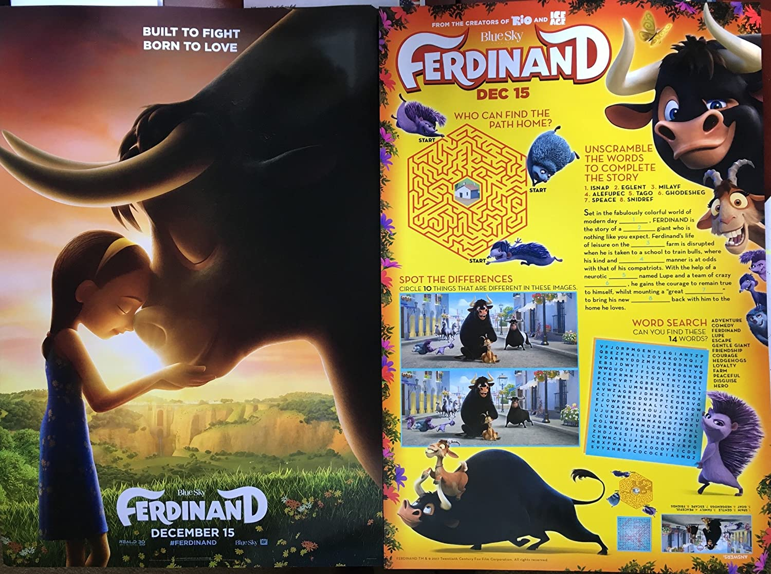 Amazon Com Ferdinand 2017 Original Authentic Movie Promo Poster 13x20 D S John Cena David Tennant Anthony Anderson Gabriel Iglesias Everything Else