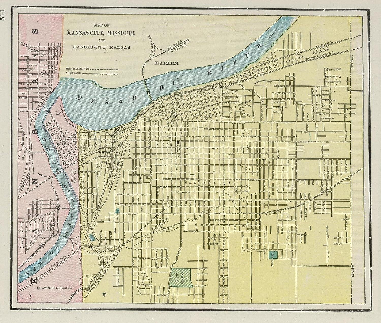 Alton Kansas Map.Amazon Com World Atlas 1901 Kansas City Historic Antique