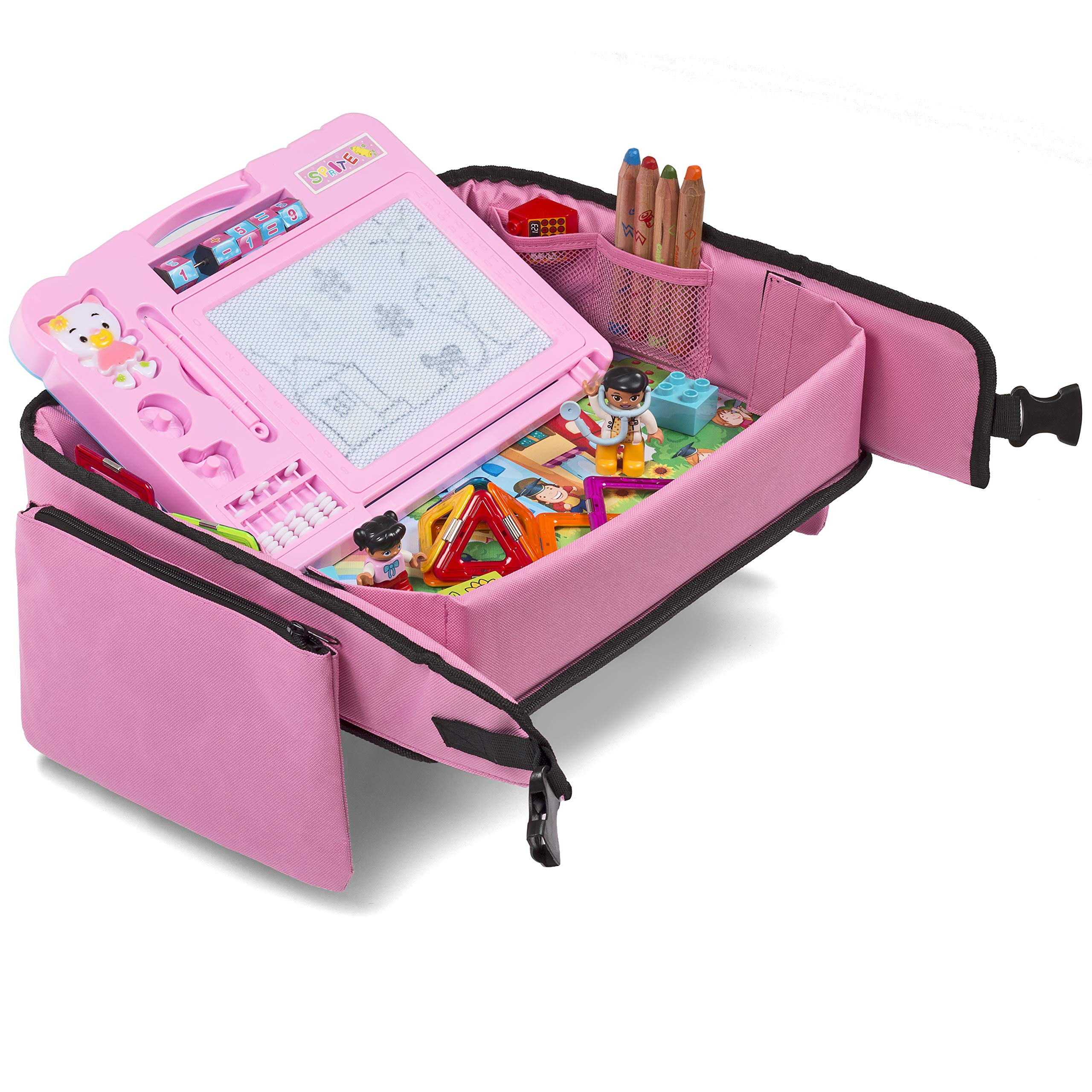 Pink Toddler Car Seat Travel Tray | +Bonus 2 in 1 Magnetic Doodle Board & Chalkboard | Kids Carseat Activity Tray, Lap & Play Tray for Car Seat and Stroller by Kidsmarter