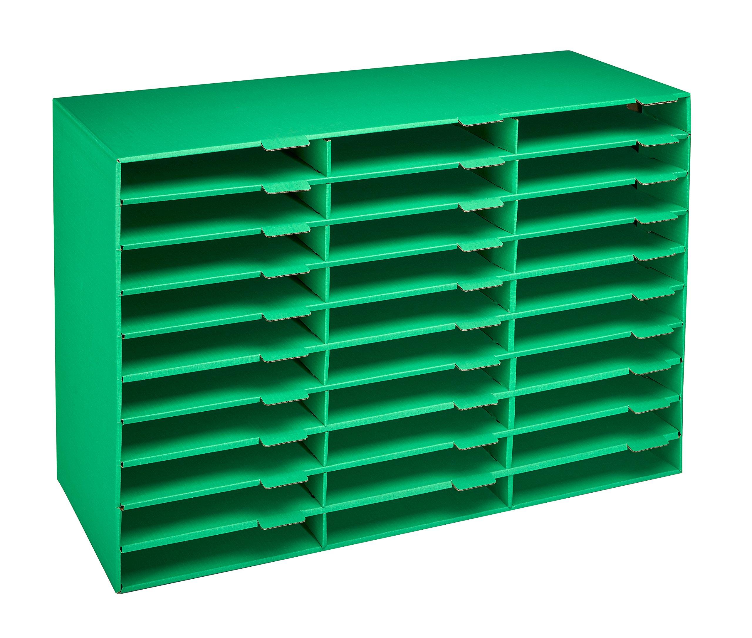 AdirOffice File Organizer Classroom - Office - Home - Corrugated Cardboard (30 Slots, Green)